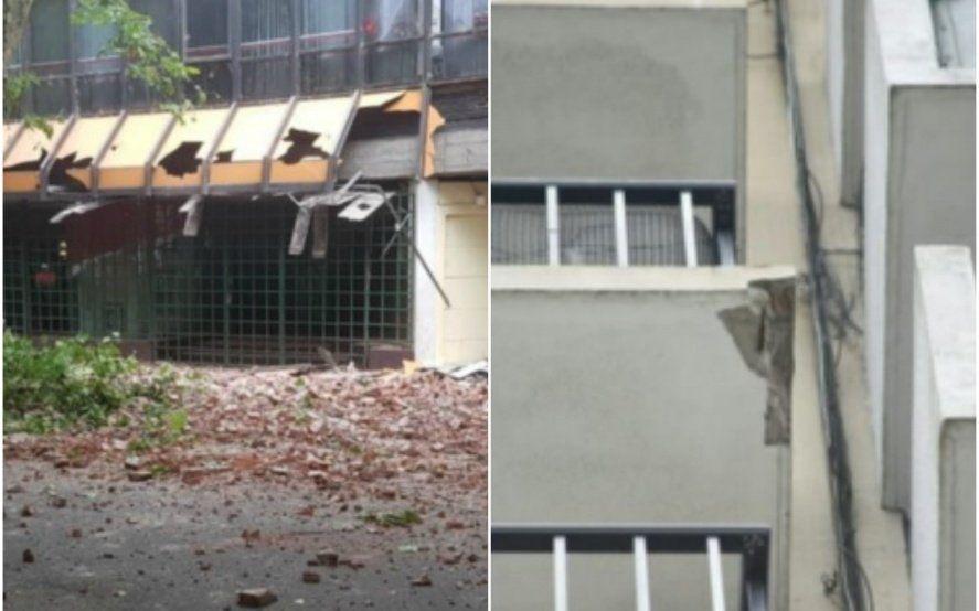 Alerta derrumbe: Se desprendió una fachada y se cayó mampostería de un balcón en Mar del Plata