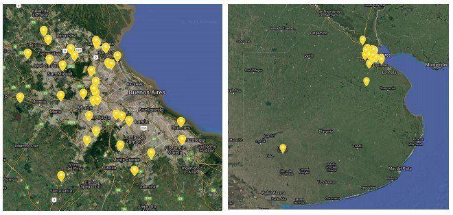 Georreferenciación de los casos notificados de la enfermedad en aves desdeel 01/01 al 23/02 en la Provincia