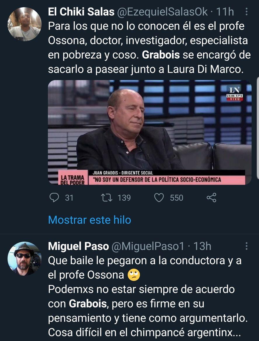 """Los comentarios que provocó en Twitter el """"Profe"""" Ossona, especialista en pobreza que estuvo frente a, Juan Grabois en el programa de Laura Di Marco"""