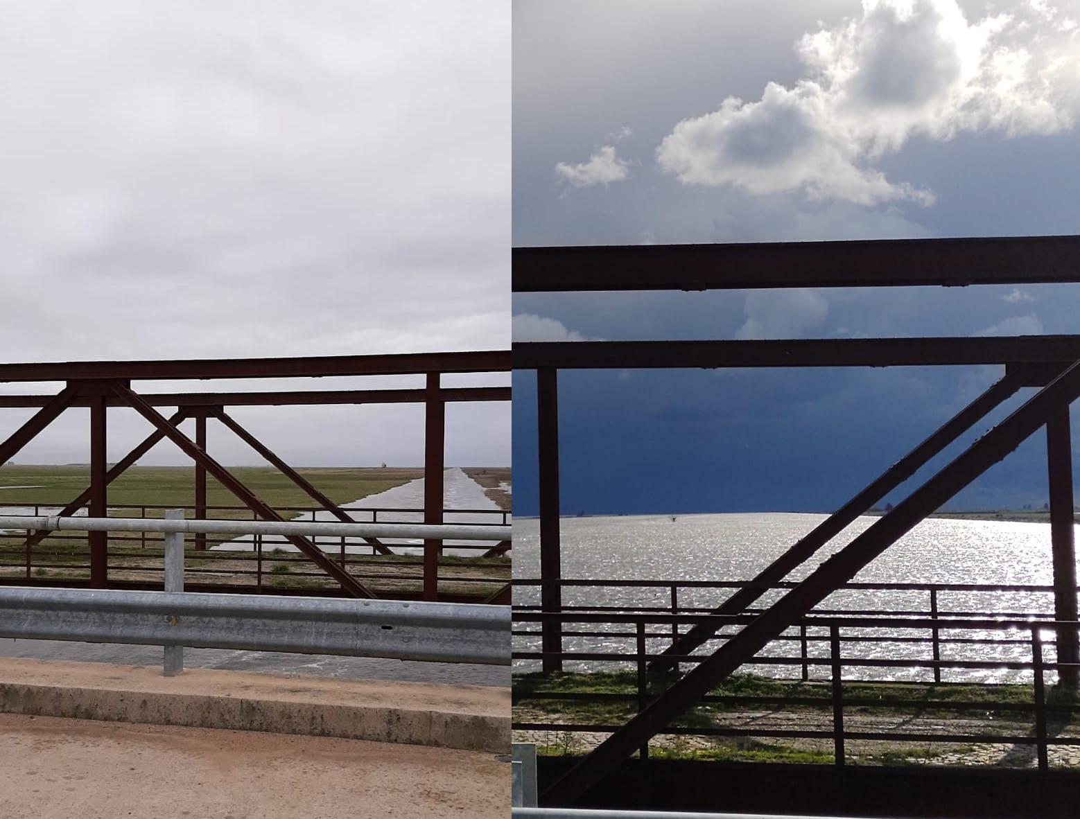 Pîla: el puente del 80, antes y después de las lluvias cuenca arriba del Salado.