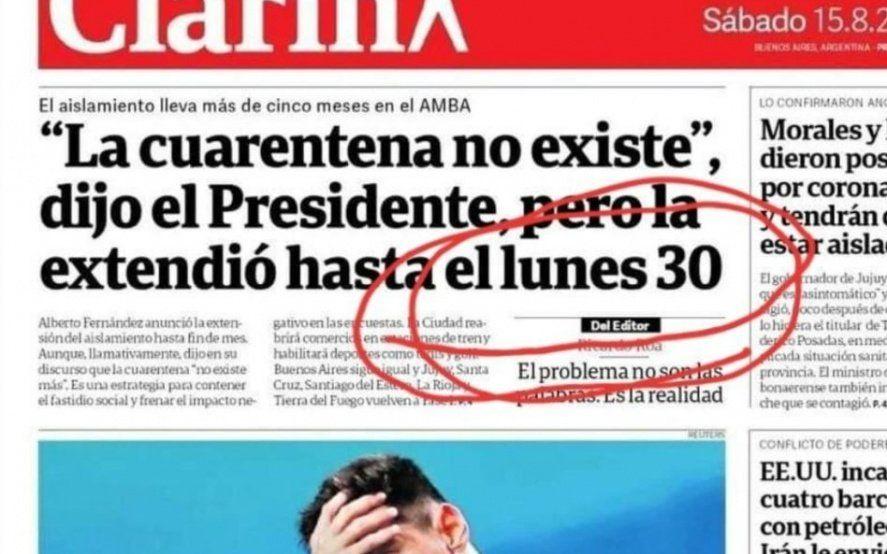 Gollán no le perdonó a Clarín un grosero error de la portada