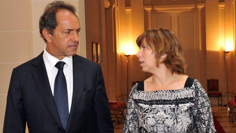 Daniel Scioli junto a quien fuera su ministra de Economía, Silvina Batakis