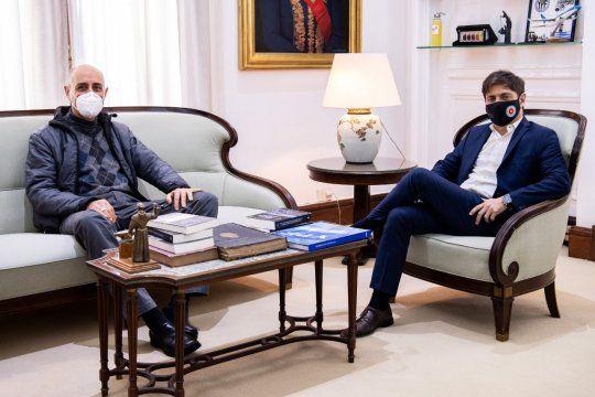Kicillof y Tucho Fernández en Casa de Gobierno. Dialogaron más de una hora y media.
