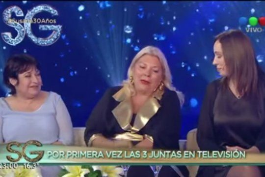 Vidal, Carrió y Ocaña hablando en 2017 con Susana Giménez sobre las supuestas personas en situación de calle a las que le pagaba el kirchnerismo para mostrar que había pobreza durante el macrismo