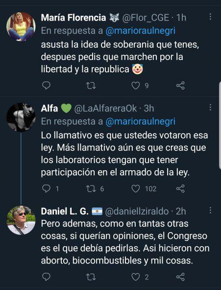 Algunos tweets que le replican a Mario Negri por pedir que la empresa Pfizer participe en la confección de los límites de la ley, y por no aclarar que él además voto a favor de la legislación actual