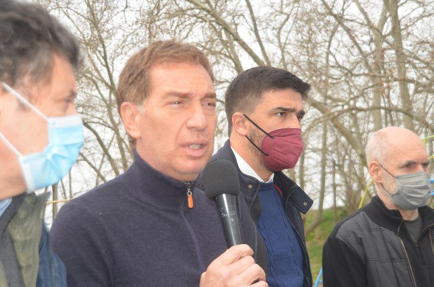 El precandidato Diego Santilli estuvo acompañado por lo principales líderes de Cambiemos