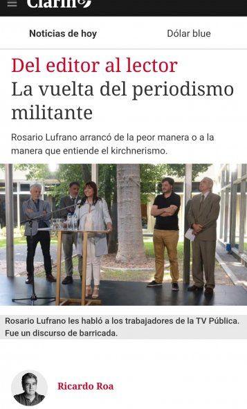 Clarín acusando a Rosario Lufrano al asumir en TV Pública como