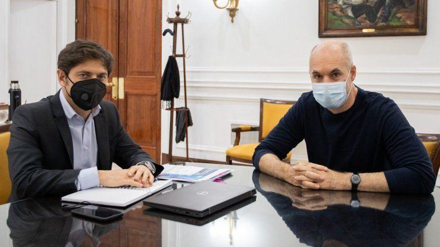 El gobernador Kicillof cuando recibió en La Plata al jefe de Gobierno porteño