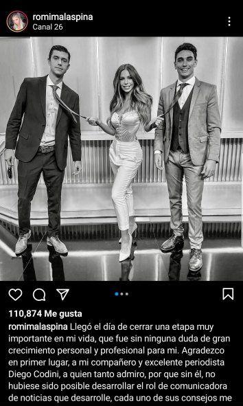 Con esa foto en blanco y negro ,y ese posteo, decidió Romina Malaspina anunciar su despedida del periodismo televisivo en el Canal 26