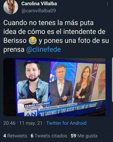 La periodista Carolina Villalba resaltó el error de América al colocar la foto del Jefe de Prensa de Fabián Cagliardi, en lugar de la del Intendente de Berisso