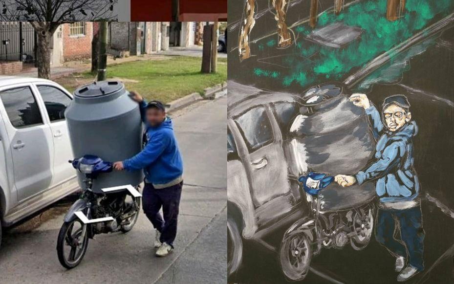 Luc Mogni, artista vecino de Lomas de Zamora, retrata situaciones insólitas del Conurbano inspiradas en fotos de Google Maps