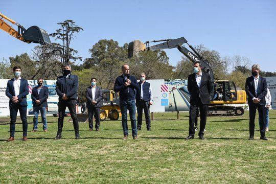 Insaurralde, Meoni y Massa, en la presentación de las obras en el Ferrocarril Roca.