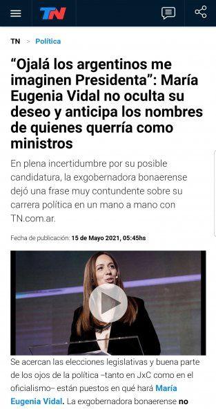 TN con un título rimbombante anuncia el deseo de María Eugenia Vidal a ser presidenta de Argentina y ke marca la cancha a Rodríguez Larreta