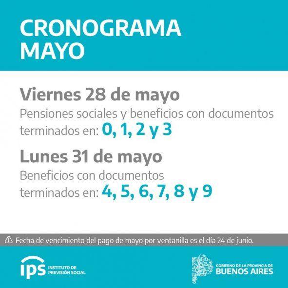 El IPS confirmó su calendario de pagos para los haberes de mayo.