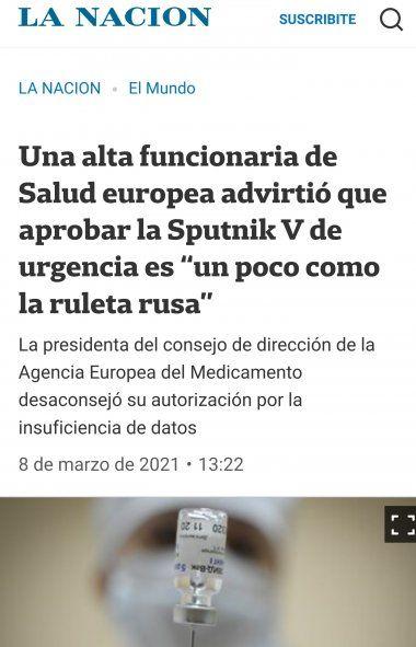 Los grupos mediáticos argentinos aprovechan a volver a poner en duda la efectividad de la vacuna Sputnik citabdo la declaración televisiva de una funcionaria de la Agencia europea de medicamentos que se opone a su aprobación