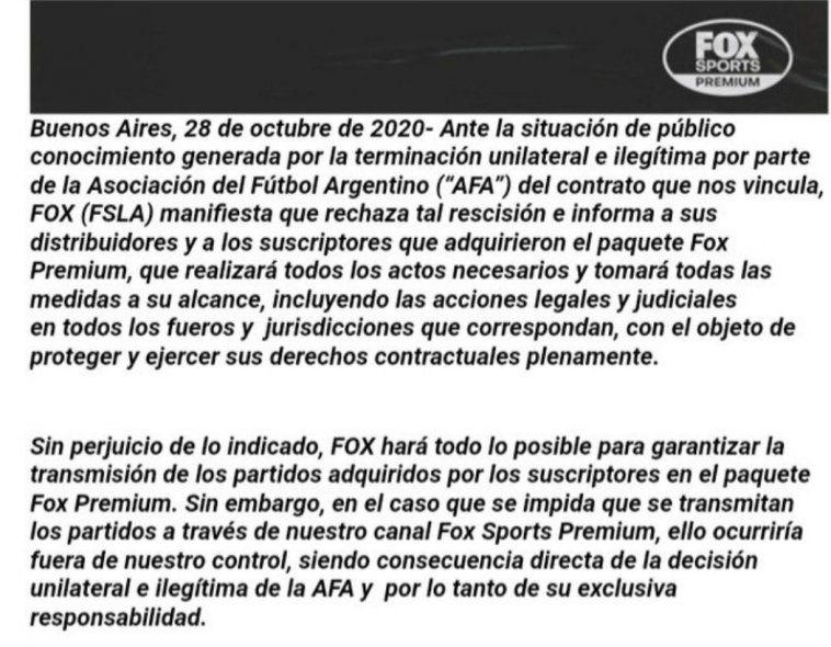 El comunicado de Fox tras la decisión de AFA de romper el contrato.