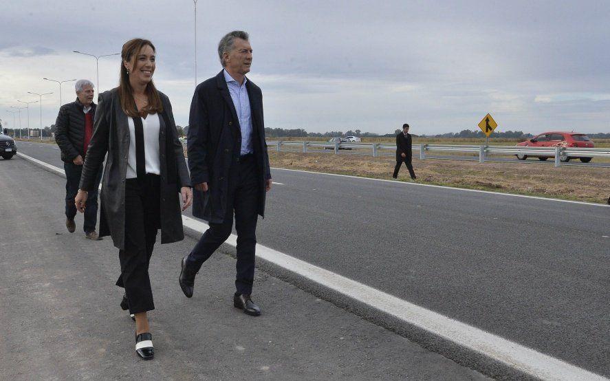 Vidal volvió a mostrarse con Macri en una recorrida por la autopista Pilar-Pergamino