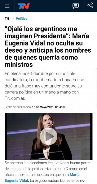 TN con un título rimbombante anuncia el deseo de María Eugenia Vidal a ser presidenta de Argentina y ke