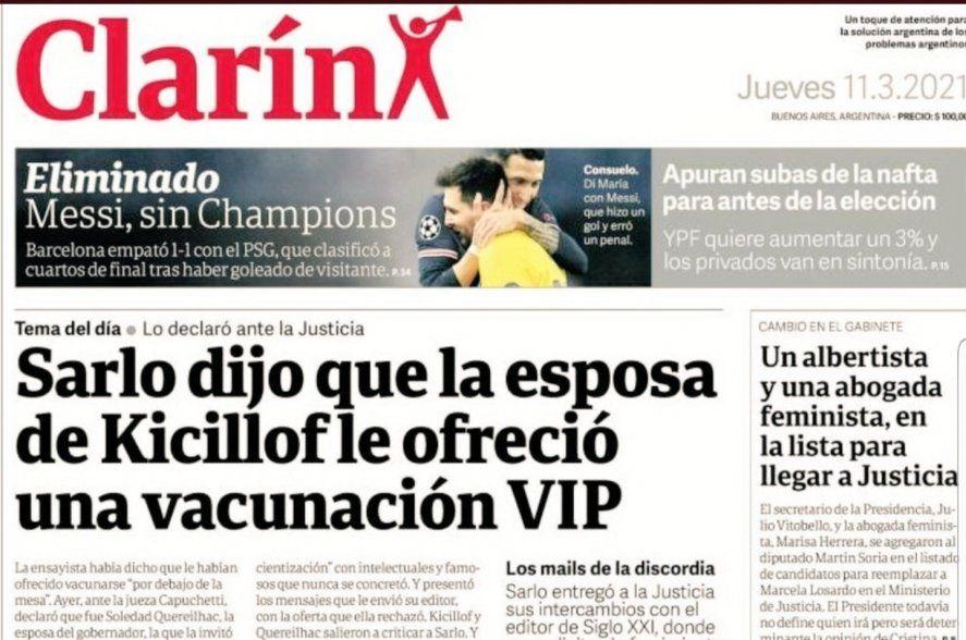 Clarín tituló su diario de papel a 6 columnas con una noticia ya superada. Al igual que La Nación con el tema Sarlo y la librería