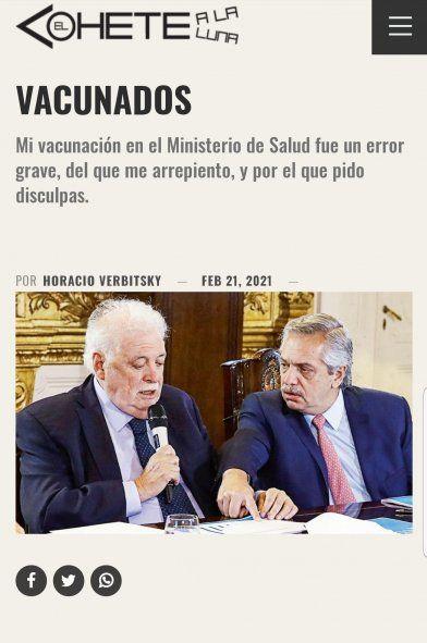 El titular y la foto que eligió Verbitsky para su pedido de disculpas por la vacunación irregular que realizó dejó lugar a la suspicacia