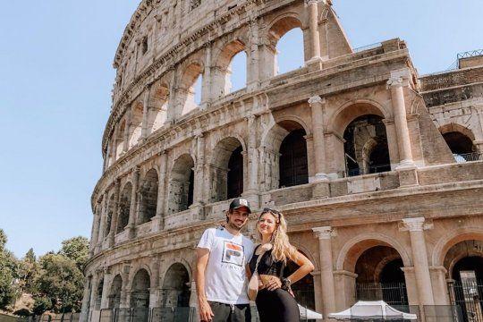 Stephanie Demner viajó a Roma para ver a Guido Pella:estallaron las redes