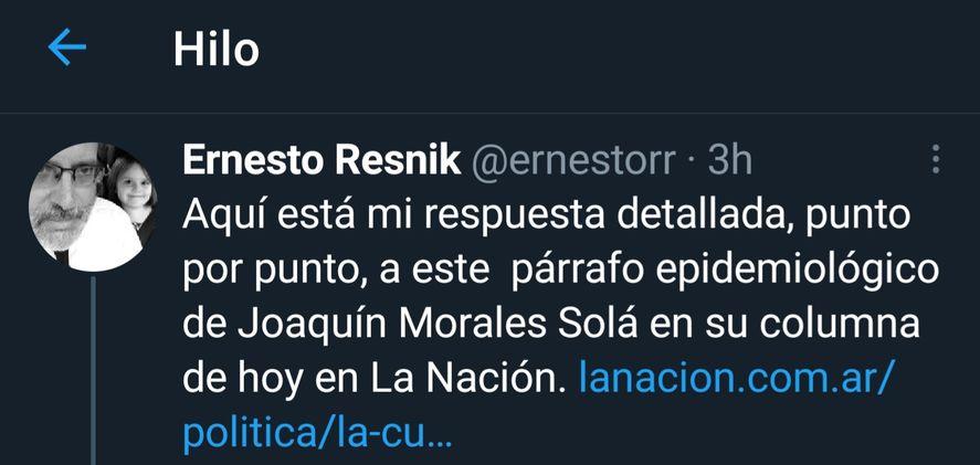 El hilo de Twitter del inmunólogo Ernesto Resnik que refuta todos y cada uno de los argumentos de Morales Solá sobre la variante Delta