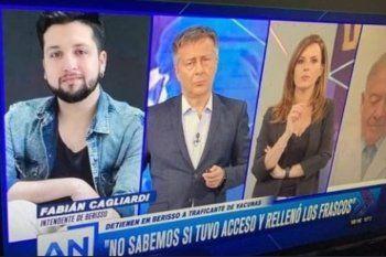 El nombre del intendente de Berisso está bien puesto, Fabián Cagliardi, pero la imagen pertenece a su jefe de prensa. En América, no se dieron cuenta