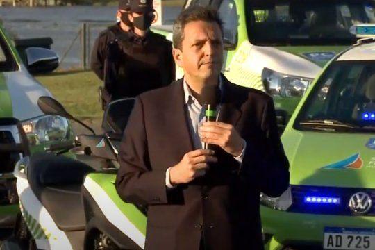 Sergio Massa participó en San Fernando de la presentación de nuevas patrullas y cámaras junto a Juan Andreotti.
