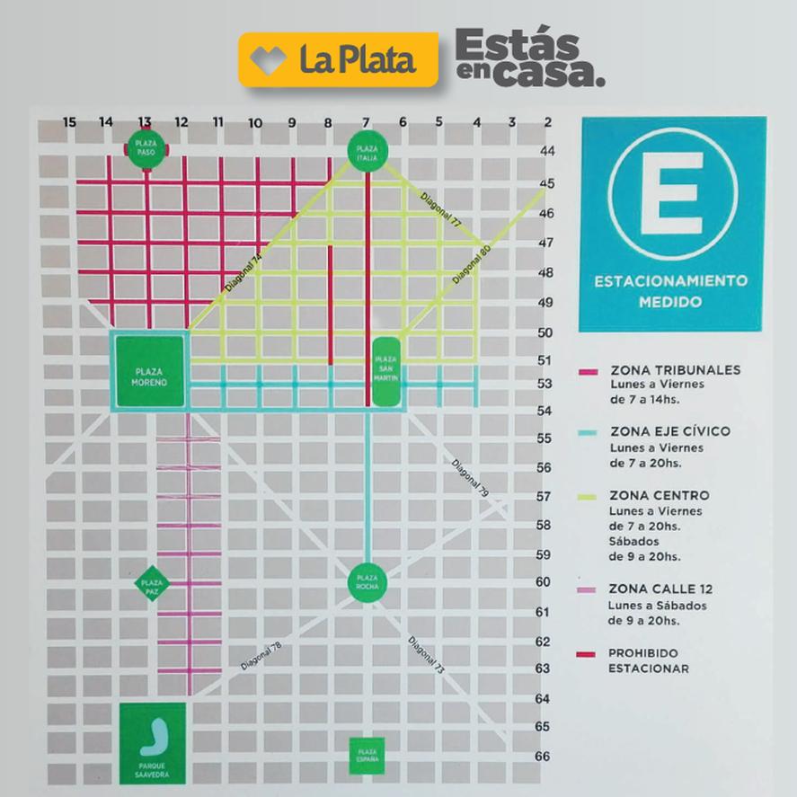 EL mapa del estacionamiento medido de La Plata