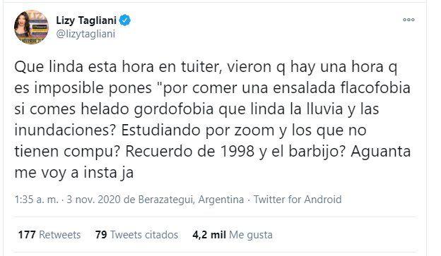 Lizy Tagliani y su tuit de madrugada, la hora en que los haters no la atacan.