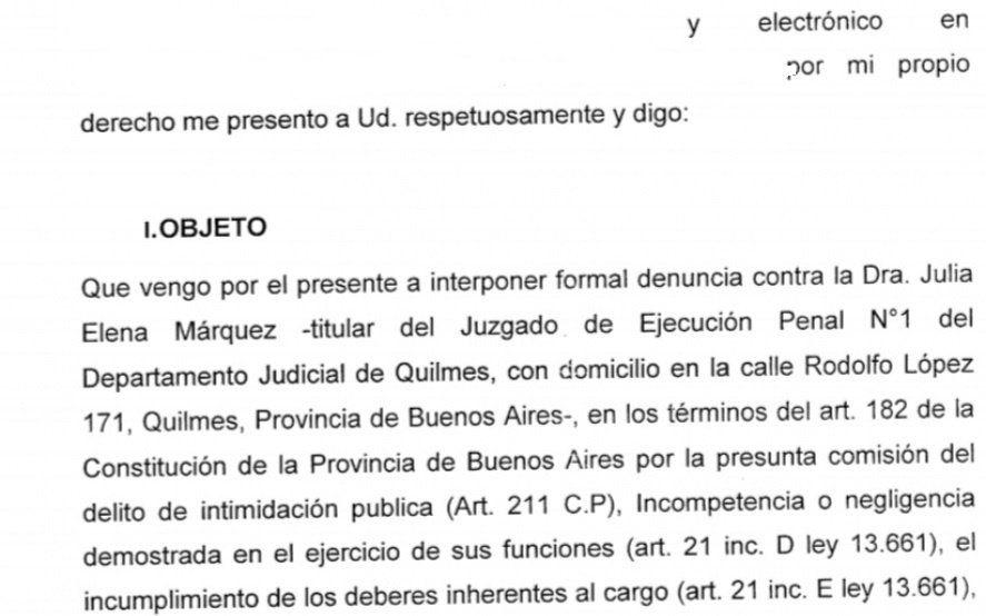 Piden juicio político a una jueza de Quilmes por brindar datos erróneos sobre la liberación de presos