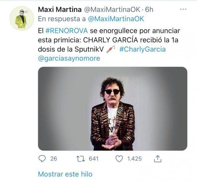 Confirmado: Charly García recibió la primera dosis de la vacuna contra el coronavirus.