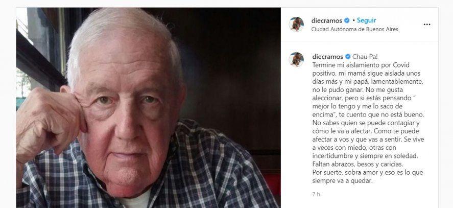 El padre de Diego Ramos murió de coronavirus: el actor y su madre aún se recuperan.