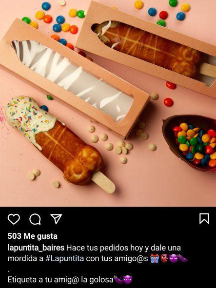 El negocio de venta de waffles con forma de pene también se publicita en las redes sociales