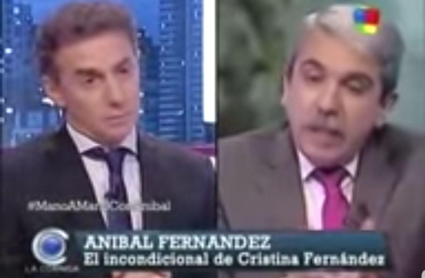 Otras épocas, misma situación. Luis Majul atacando a Cristina Kirchner y Aníbal Fernández saliendo en su defensa