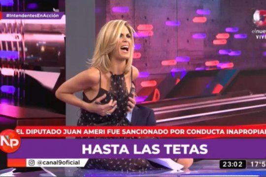 Con un gesto haciendo alusión al escándalo en Diputados, Canosa brindó su show en Nada Personal.