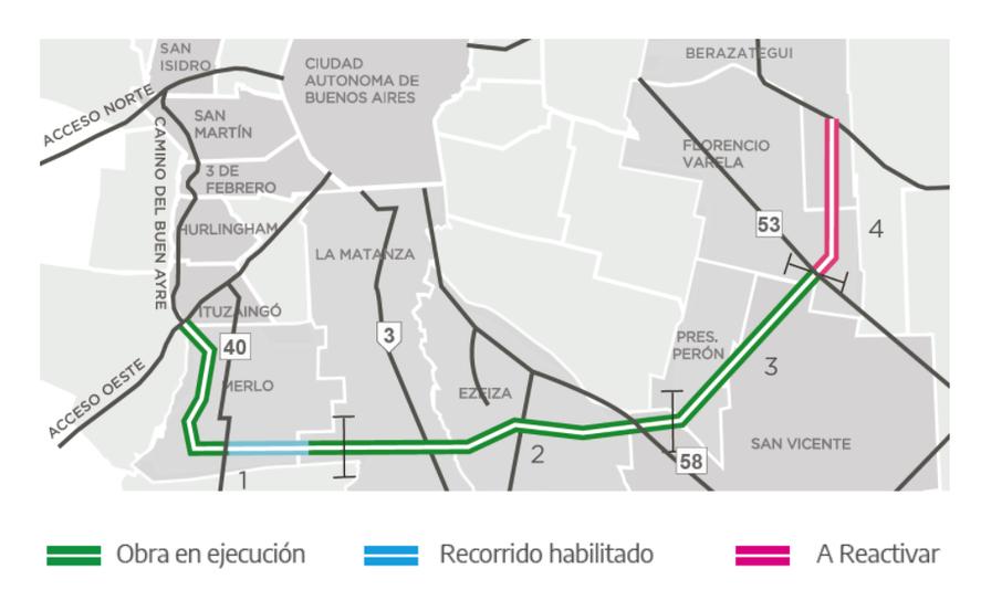 Los cuatro tramos de la Autopista Presidente Perón