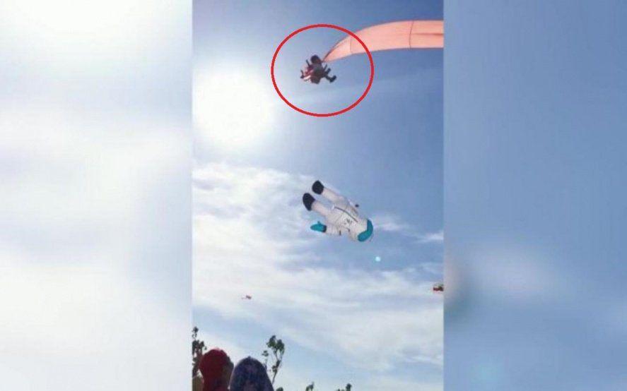 Video: una nena salió volando mientras remontaba un barrilete en Taiwan