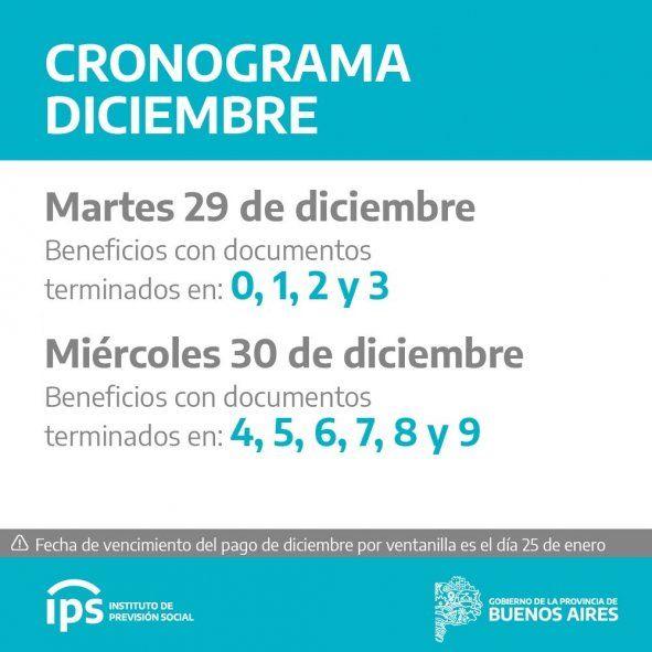 El calendario de pagos para beneficiarios del IPS