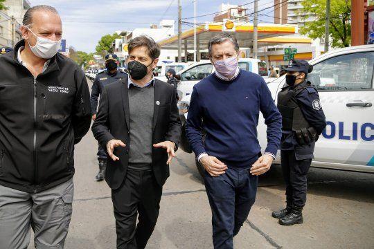 El gobernador Axel Kicillof visitó Esteban Echeverría junto al ministro de Seguridad, Sergio Berni.