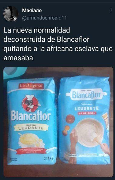 El tweet publicado el 24 de mayo y que hizo furor el Día de la Patria, con el paquete de harina antes y después de ser removido el personaje de