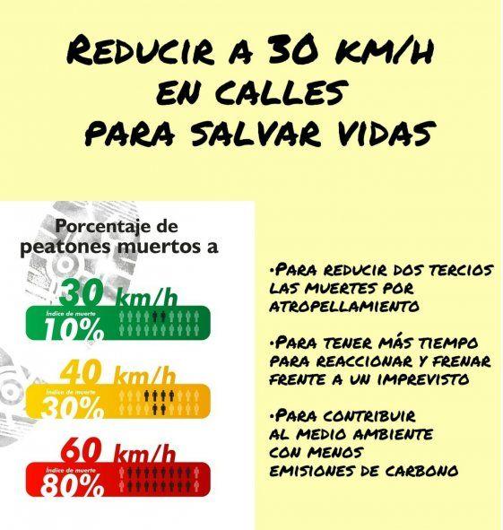 Piden reducir a 30 km/h la velocidad máxima para salvar vidas (Foto: Luchemos por la Vida)