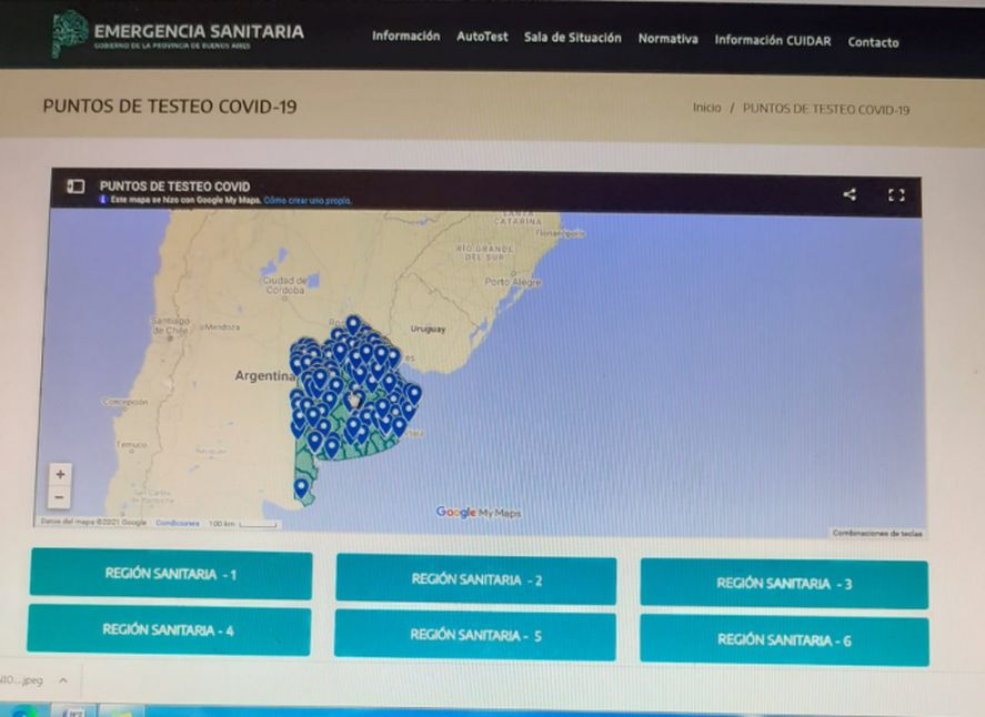 El mapa para testeos de coronavirus fue confeccionado por el área de Establecimientos de Salud de la Dirección de Información en Salud