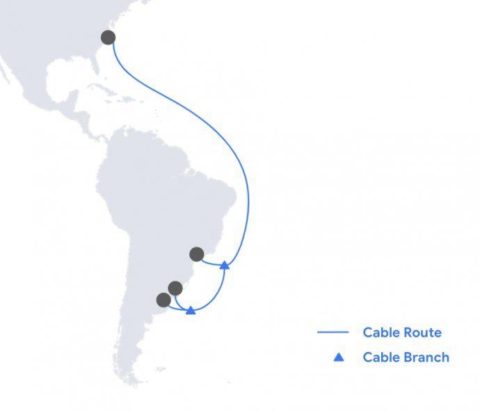 El cable submarino de Google irá desde Estados Unidos hasta Argentina