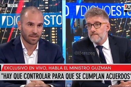 Luis Novaresio y el Ministro de Economía Martín Guzmán no coincidieron sobre el supuesto éxodo masivo de empresarios argentinos a Uruguay