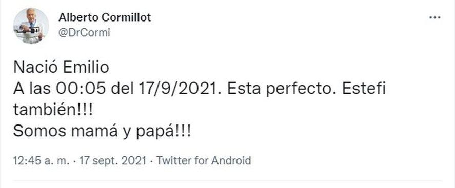 Alberto Cormillot fue papá a los 83 años
