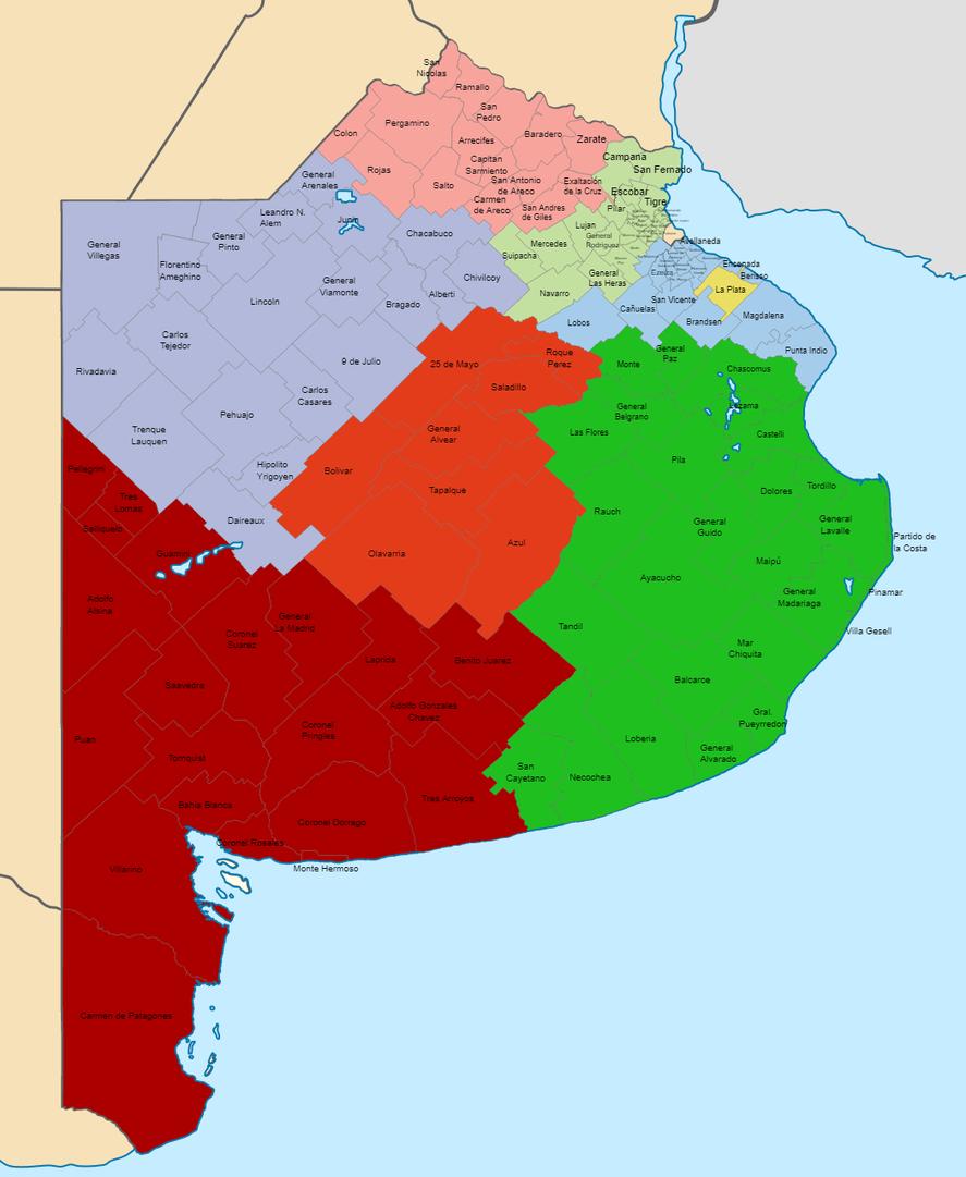 El mapa de las secciones electorales bonaerenses (Fuente: Junta Electoral)