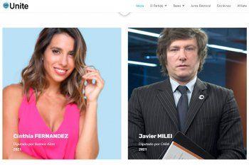 Cinthia Fernández será candidata en las elecciones de la provincia de Buenos Aires por el partido Unite, que también integra Javier Milei.