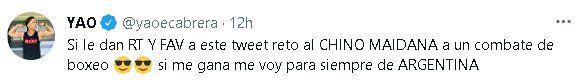 Yao Cabrera desafió a una pelea al Chino Maidana