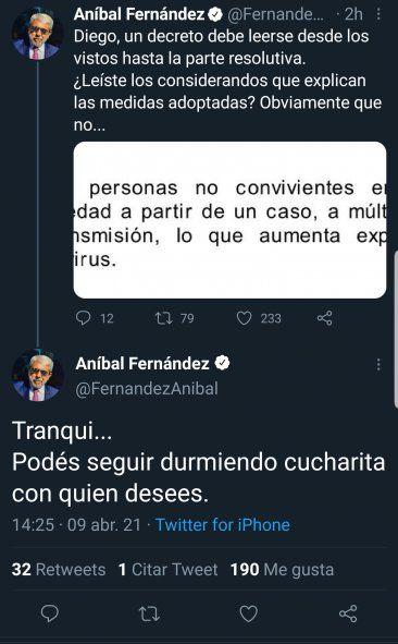 El tuit de Aníbal Fernández aclarándole al periodista de La Nación, Diego Cabot, como deben leerse los decretos, con los considerandos también